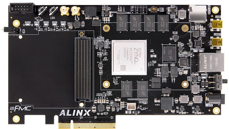 Hardware, Firmware, Software:  Placa Evaluación Alinx AX7450 para un dispositivo de la familia Xilinx Zynq-7000